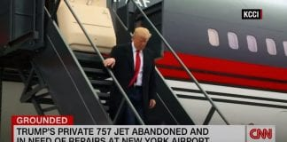 1 engine broken, the other wrapped. This is the current state of Trump's 757
