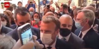 French President Macron hit with egg during event