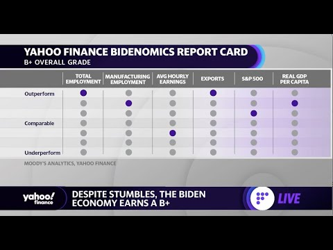 President Biden gets a B+ on the economy from Yahoo Finance Bidenomics report card